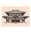 vintage tradition asian house emblem - grunge vector image