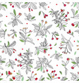 white christmas pattern with rose plant and dots vector image