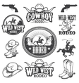 Set of vintage rodeo emblems and designed elements vector image