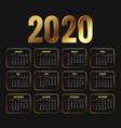 2020 attractive golden new year calendar template