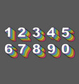 80 s retro numbers rainbow vintage alphabet vector image vector image