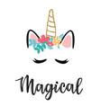 a magic cute unicorn vector image vector image