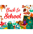 back to school supplies festive poster design vector image vector image