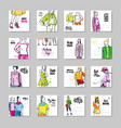 big set mothers day greeting card with hand vector image vector image