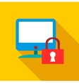 Blocked monitor icon flat style vector image vector image