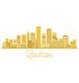 boston usa city skyline golden silhouette vector image vector image