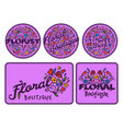 Bright badge for flower shop decorative hand drawn