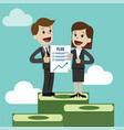businessman and businesswoman have a plan job is vector image vector image
