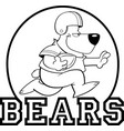cartoon bear playing football logo vector image vector image