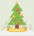 christmas card christmas tree flat vector image
