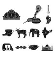 country india black icons in set collection for vector image