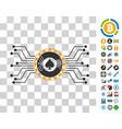 digital casino circuit icon with bonus vector image vector image
