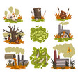 ecological disasters set pollution of nature with vector image