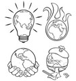 ecology concepts 3 line art vector image vector image