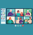 family video chat parents grandparents and vector image vector image