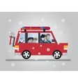 Family winter traveling Travel by car Flat vector image