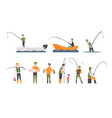 flat set fishing people with fish and vector image
