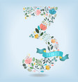 floral number three with blue ribbon vector image vector image
