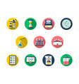 forensic flat round icons set vector image