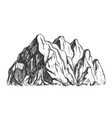 high mountain crag landscape hand drawn vector image