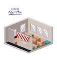 isometric floor plan of restaurant with interior vector image