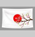 japan flag with sakura cherry blossom branch vector image
