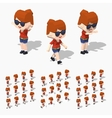 Low poly redhead girl vector image