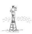 man in bowler hat speaking through megaphone vector image