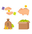 money boxes and human hands color icons collection vector image vector image