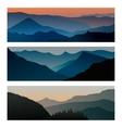 mountains sunrise and sunset horizontal vector image