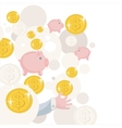 Pattern with piggy bank and money vector image vector image