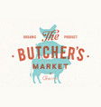 poster for butcher market cow pig hen stand on vector image vector image