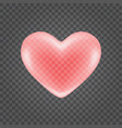 red shiny heart shape isolated on transparency vector image vector image
