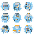 set flat style business concept human hands vector image