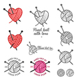 set hand knit labels and badges vector image vector image