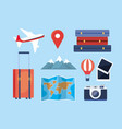 set travel adventure with location and vector image vector image