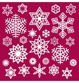 set white christmas snowflakes icons on wine vector image vector image