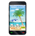 smartphone with summer vacation sand beach vector image