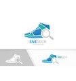 sneaker and loupe logo combination shoe vector image vector image