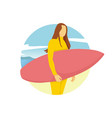 surfer girl stand summer activity scenery design vector image