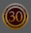 thirtieth happy anniversary celebration symbol vector image vector image