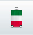 travel luggage bag with italy flag vector image vector image