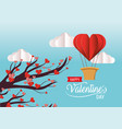 tree with valentine hearts flowers and air balloon vector image