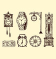 vintage classic pocket watch alarm clock vector image