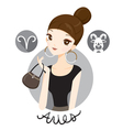 Woman With Aries Zodiac Sign vector image