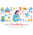 world breastfeeding week and kids elements flat vector image vector image