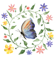 wreath and butterfly vector image