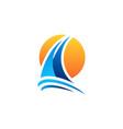 yacht sailing boat sunset logo symbol icon vector image vector image