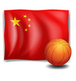 A ball in front of the Chinese flag vector image
