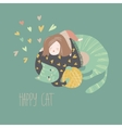 Cute cartoon girl with her playful cat vector image
